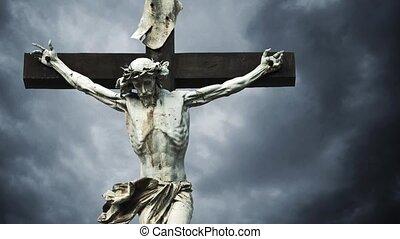 Crucifixion. Christian cross with crucified Jesus Christ...