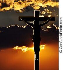 crucifixion, Coucher soleil,  christ,  jésus