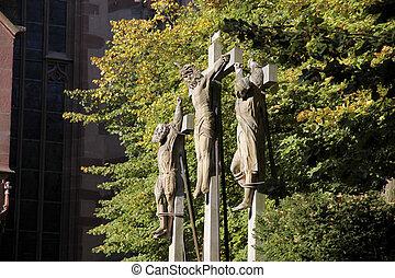 Crucifixion group next to the church of St. Valentinus in Kiedrich, Rheingau, Hesse, Germany