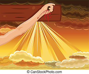 Crucifixion - hand of Jesus nailed to the Cross - Easter...
