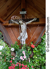 Crucifixion in Petschied village near Luson, Northern Italy