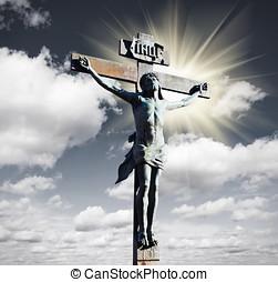crucifixion jésus christ, dans, les, ciel