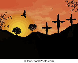 Crucifixion of Jesus Christ during sunset, vector...