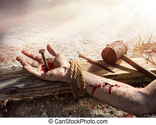 Crucifixion Of Jesus - Christ Nailed On Wooden Cross