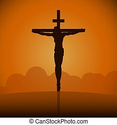 Crucifixion of Jesus Christ on the cross at sunset. Sun Rays.Vector Illustration.