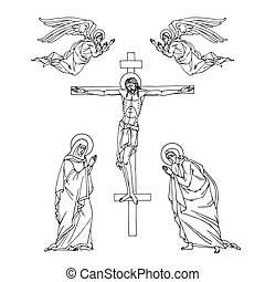 crucifixion of Jesus Christ on the cross, holy virgin Mary, apostle John and angels, Orthodox icon, vector illustration with black ink contour lines isolated on a white background in hand drawn style