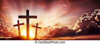 Crucifixion Of Jesus Christ- Three Crosses At Sunset