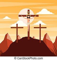 crucifixion of jesus christ three crosses at sunset