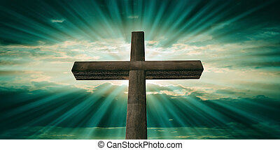 Crucifixion of Jesus Christ, wooden cross, blue green sky background. 3d illustration