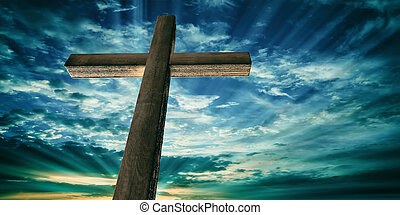 Crucifixion of Jesus Christ, wooden cross, sky at sunset background. 3d illustration