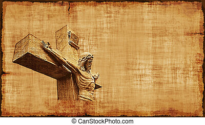 Crucifixion of Jesus Parchment - Horizontal - The...