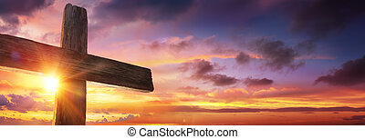 Crucifixion Of Jesus - Wooden Cross At Sunset
