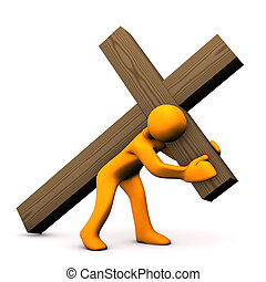 Crucifixion - Orange cartoon with wooden croos on white...