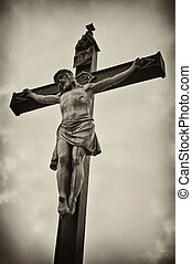 Crucifixion - A statue of Jesus Christ crucified on a cross...