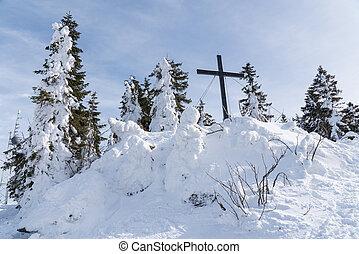 crucifixos, -, áustria, hochficht, ápice