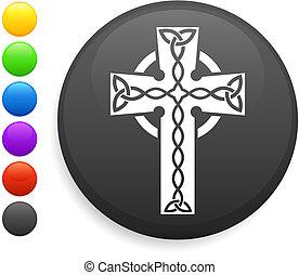 crucifixos, ícone, ligado, redondo, internet, botão