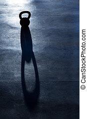 crucifixos, ajustar, kettlebell, peso, backlight, e, sombra