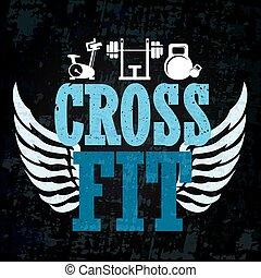 crucifixos, ajustar, treinamento, bandeira