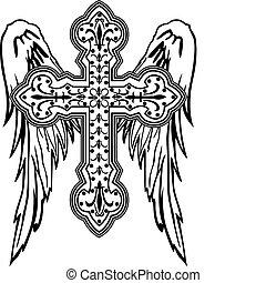 crucifixos, com, asa, tribal, desenho