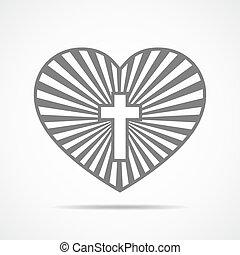 crucifixos, Coração, vetorial, cristão, Ilustração