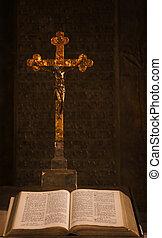 crucifixos, e, bíblia