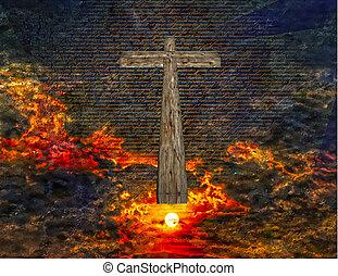 crucifixos, em, céu