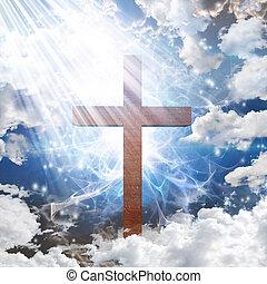 crucifixos, em, luz