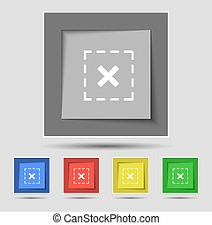 crucifixos, em, quadrado, ícone, sinal, ligado, original, cinco, colorido, buttons., vetorial