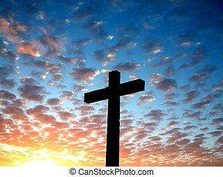 crucifixos, em, um, nublado, sk