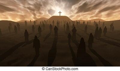crucifixos, ligado, a, colina