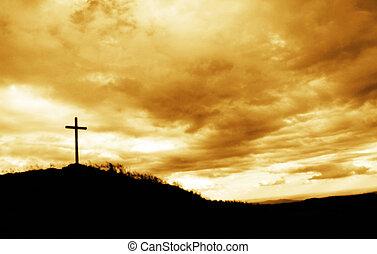 crucifixos, ligado, a, topo colina