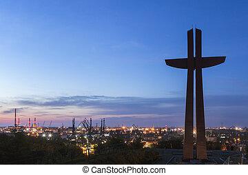 crucifixos, ligado, gradowa, colina, em, gdansk