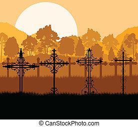 crucifixos, ligado, um, colina, em, pôr do sol, vetorial,...