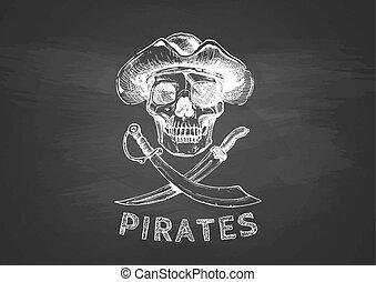 crucifixos, pirata, cranio, swords.