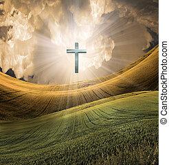 crucifixos, radiates, luz, em, céu