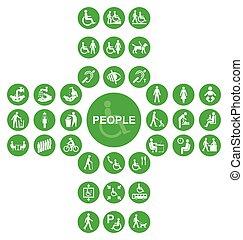 cruciforme, gente, incapacidad, colección, verde, icono