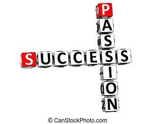 crucigrama, éxito, 3d, pasión