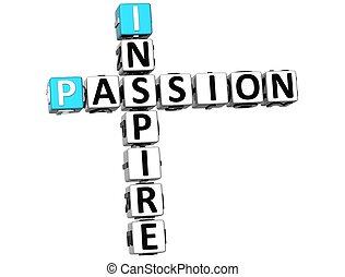crucigrama, 3d, pasión, inspirar, texto