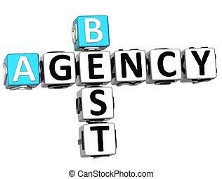 crucigrama, agencia, mejor, 3d