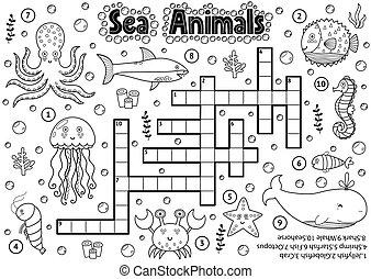 crucigrama, colorido, animales, mar, blanco, negro