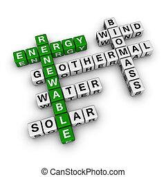 crucigrama, energía, renovable