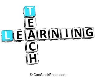 crucigrama, enseñar, aprendizaje, 3d
