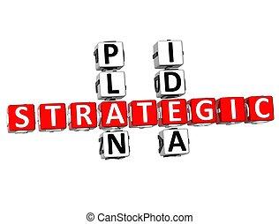 crucigrama, plan, 3d, idea, estratégico