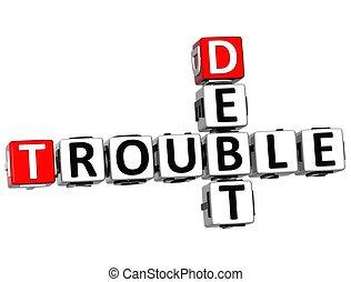 crucigrama, problema, deuda, 3d