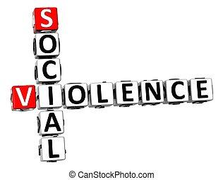 crucigrama, social, 3d, violencia