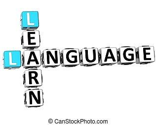 cruciverba, 3d, lingua, imparare