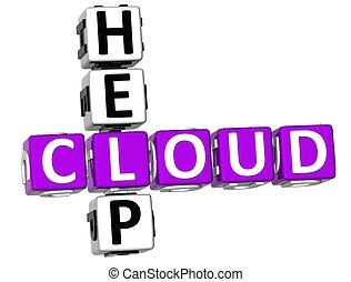 cruciverba, aiuto, nuvola, 3d