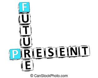 cruciverba, futuro, presente, 3d