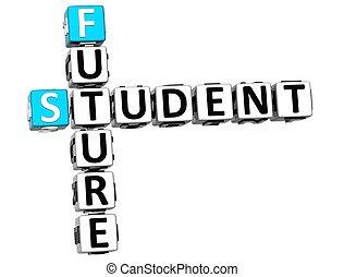 cruciverba, futuro, studente, 3d