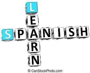 cruciverba, imparare, 3d, spagnolo